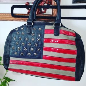 Leather Suade Patriotic AmericanFlag Satchel/Hand
